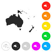 Oceania map - Flat icons on different color buttons