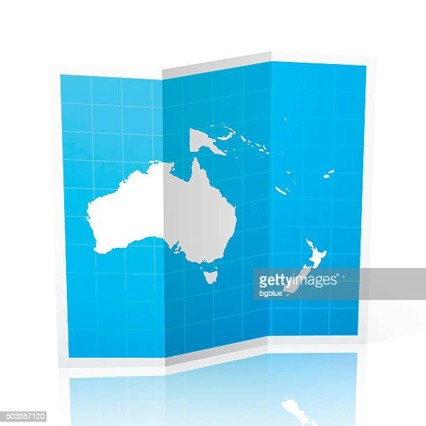 Oceania Map folded, isolated on white Background