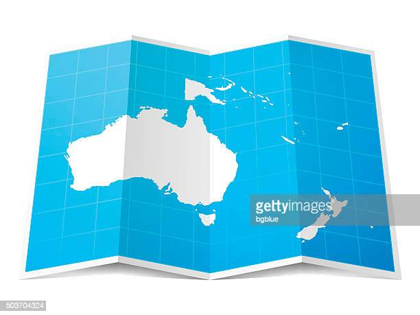 oceania map folded, isolated on white background - french overseas territory stock illustrations