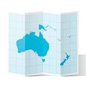 Oceania Map folded, isolated on white Background