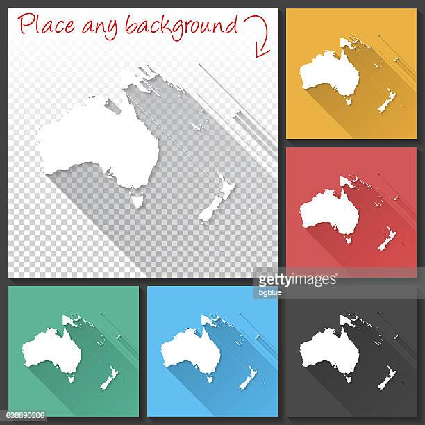 Oceania Map for design, Long Shadow, Flat Design