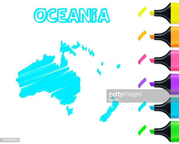 Oceania map hand drawn on white background, blue highlighter