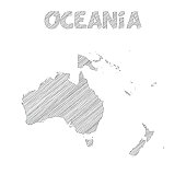 Oceania map hand drawn on white background
