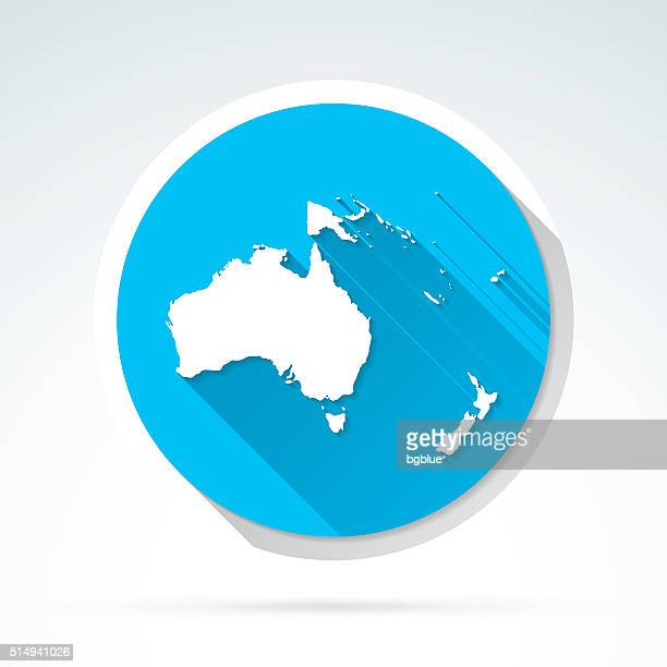 oceania map icon, flat design, long shadow - french overseas territory stock illustrations
