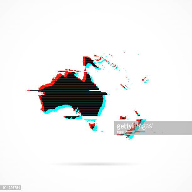 oceania map in distorted glitch style. modern trendy effect - vanuatu stock illustrations