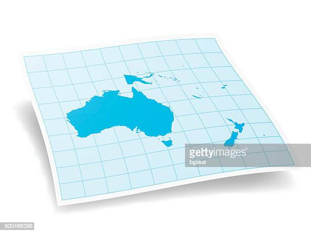 oceania map isolated on white background - new caledonia stock illustrations