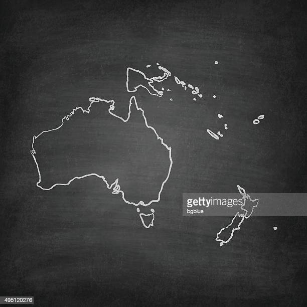 Oceania Map on Blackboard - Chalkboard