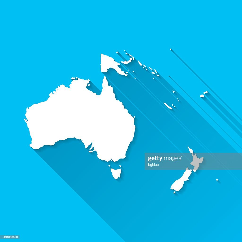 Oceania Map on Blue Background, Long Shadow, Flat Design : Stock Illustration