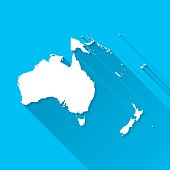 Oceania Map on Blue Background, Long Shadow, Flat Design