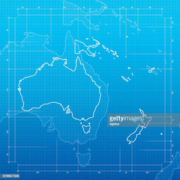 Oceania map on blueprint background