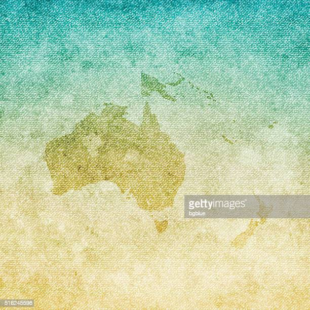 oceania map on grunge canvas background - new caledonia stock illustrations