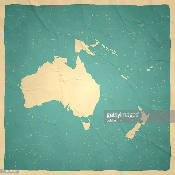 Oceania Map on old paper - vintage texture