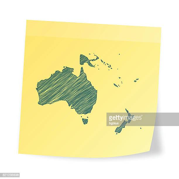 Oceania map on sticky note with scribble effect