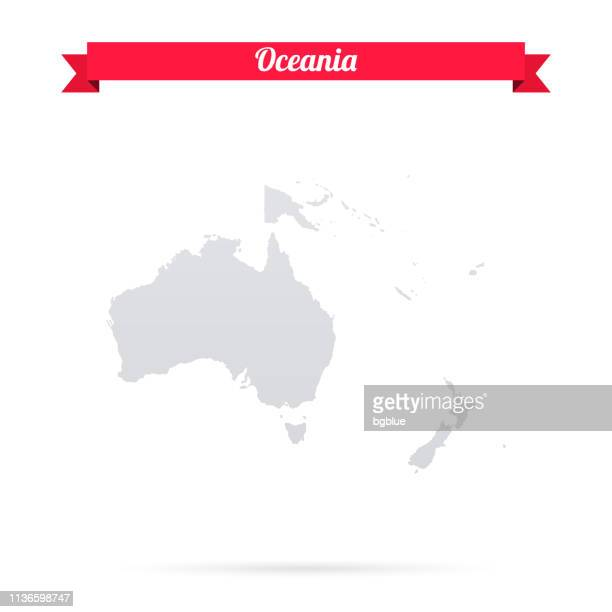 oceania map on white background with red banner - vanuatu stock illustrations