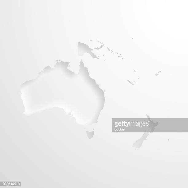 Oceania map with embossed paper effect on blank background