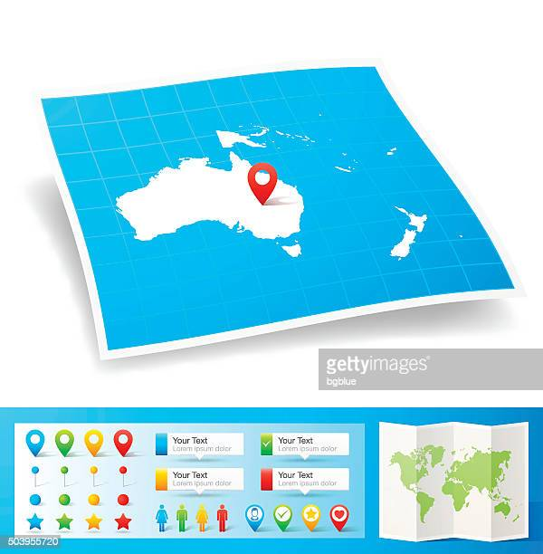 oceania map with location pins isolated on white background - new caledonia stock illustrations