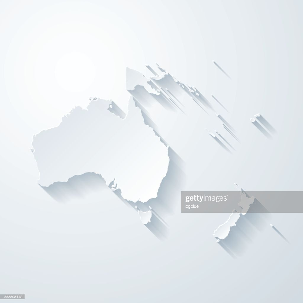 Oceania map with paper cut effect on blank background : Stock Illustration