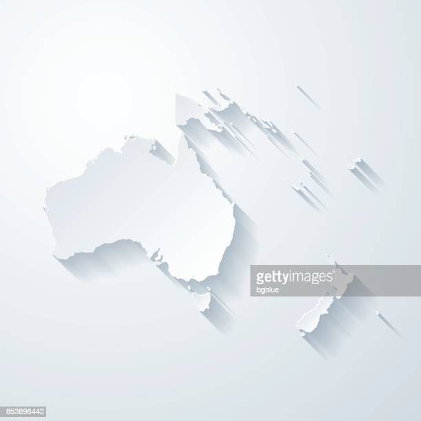 Oceania map with paper cut effect on blank background