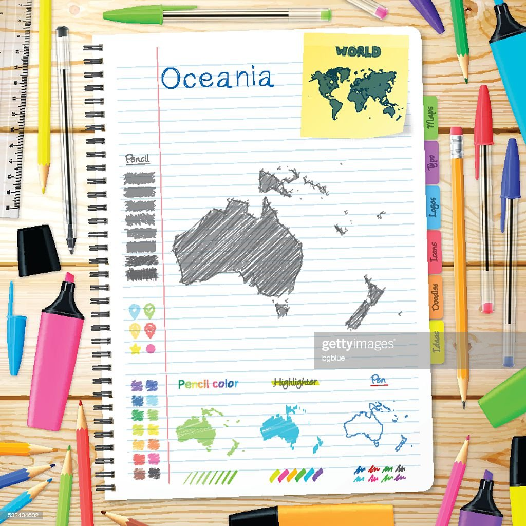 Oceania maps hand drawn on notebook. Wooden Background : stock illustration