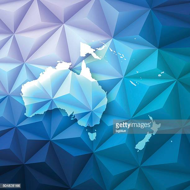 Oceania on Abstract Polygonal Background - Low Poly, Geometric