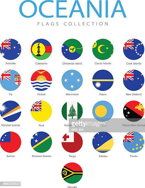 Oceania - Rounded Flags - Illustration