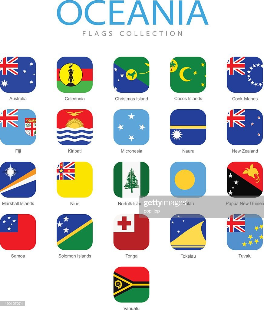 Oceania - Square Flag Icons - Illustration