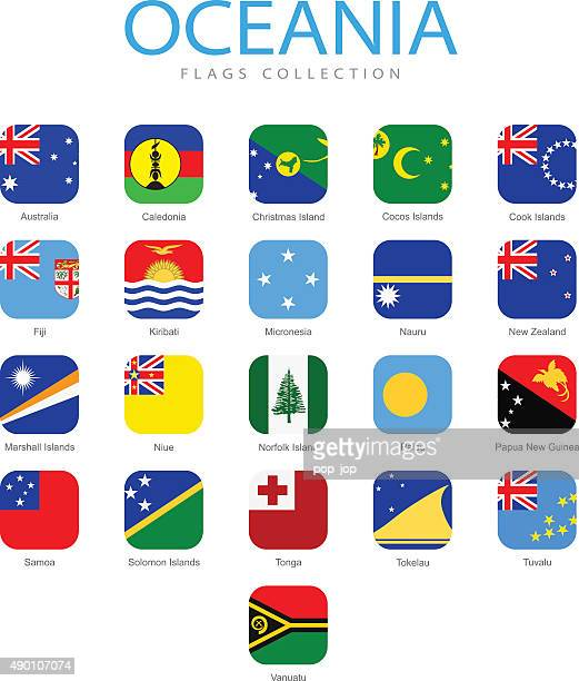 Oceania - Square Flag Icons - Illustration