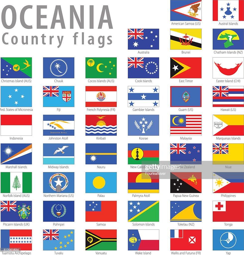 Oceania Vector National Simple Flags