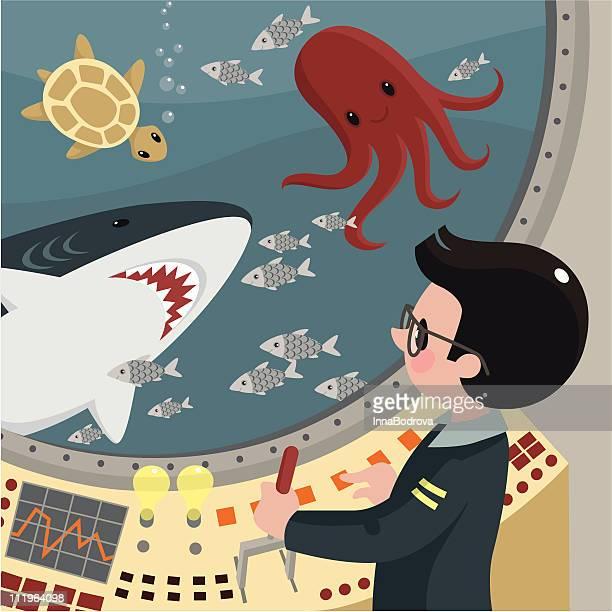 ilustraciones, imágenes clip art, dibujos animados e iconos de stock de oceanógrafo. - biodiversidad