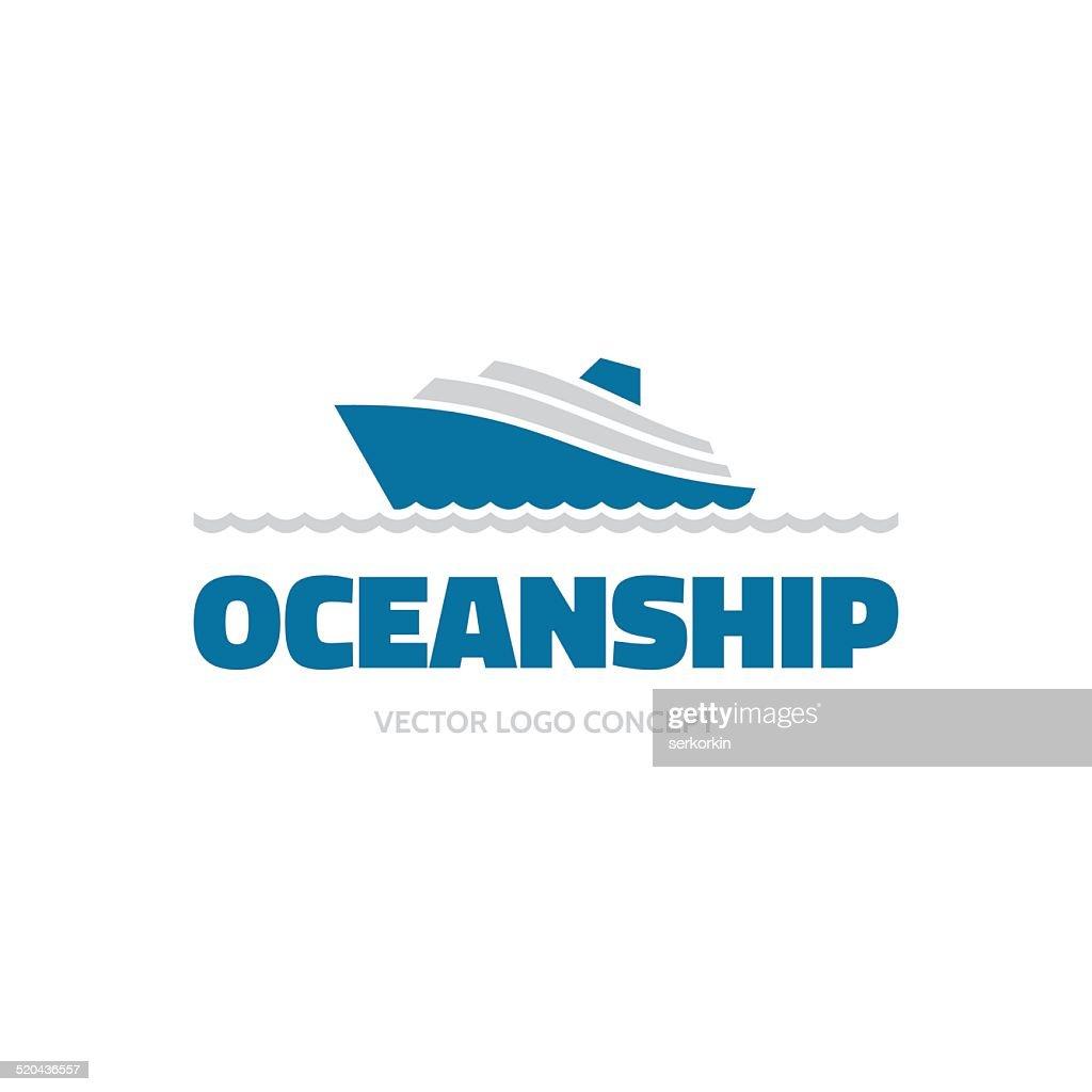OceanShip - vector logo concept. Sea ship illustration. Vector logo template.