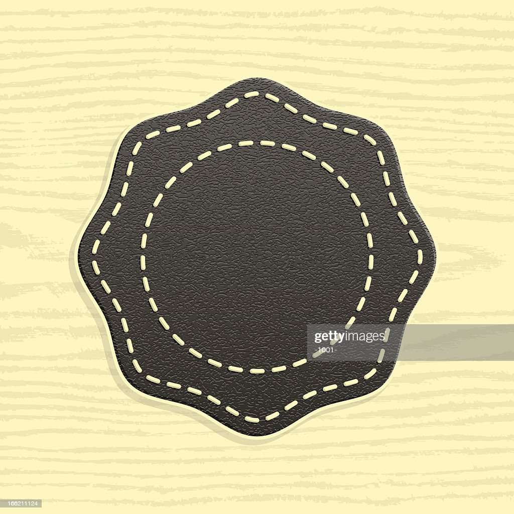 Octagon blank leather label retro vintage style wood texture background