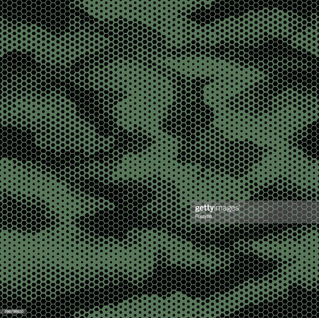 Octagon camouflage seamless pattern green black