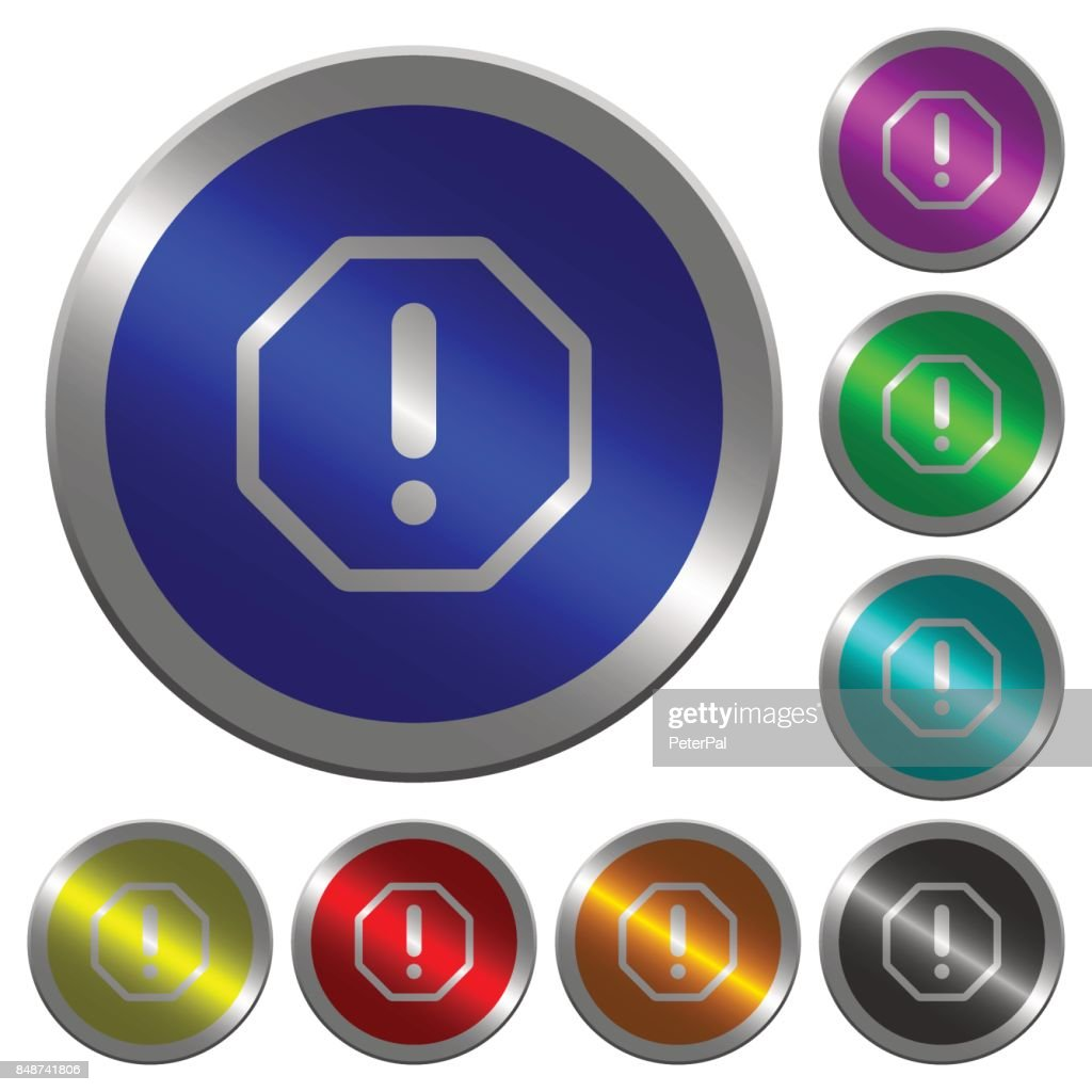 Octagon shaped error sign luminous coin-like round color buttons
