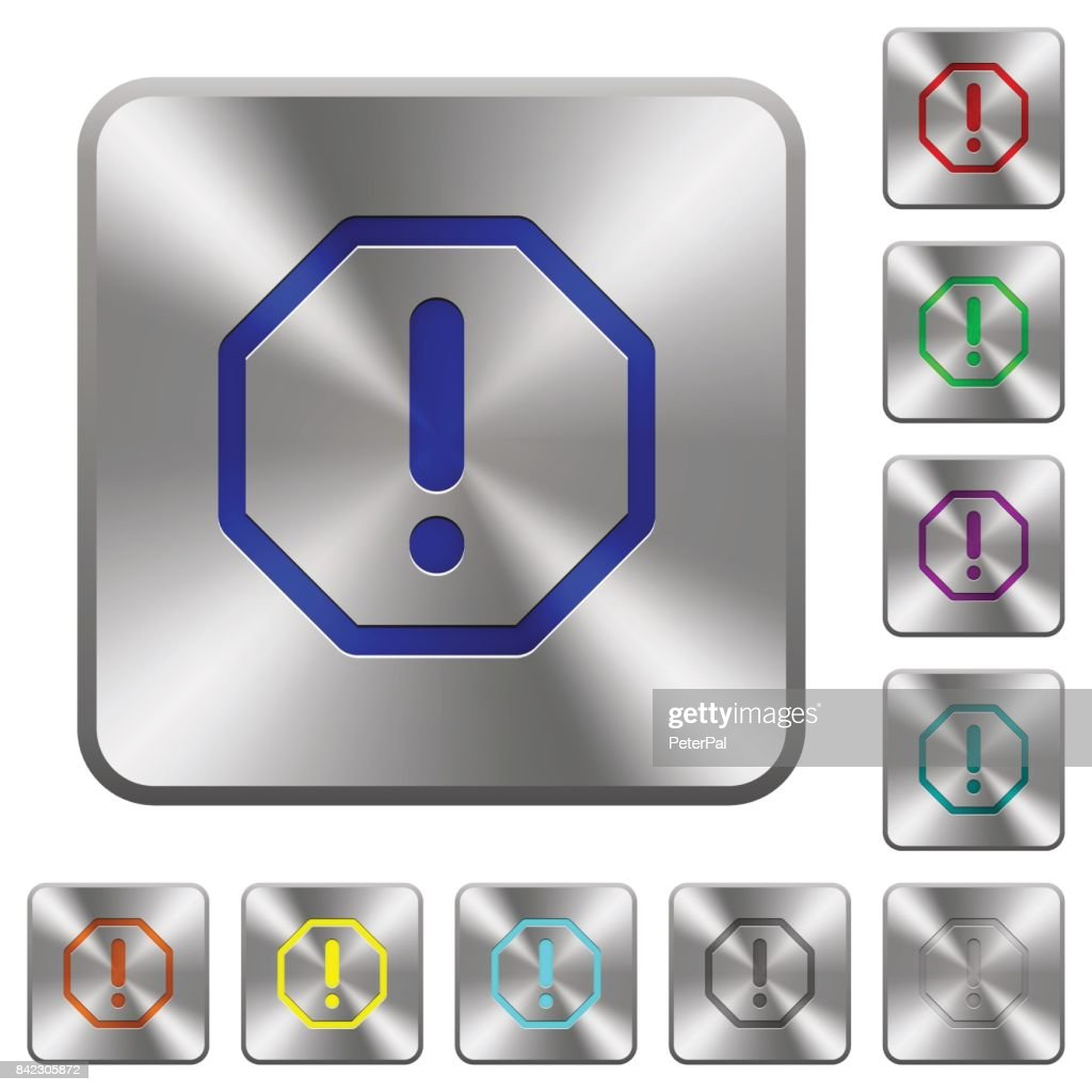 Octagon shaped error sign rounded square steel buttons