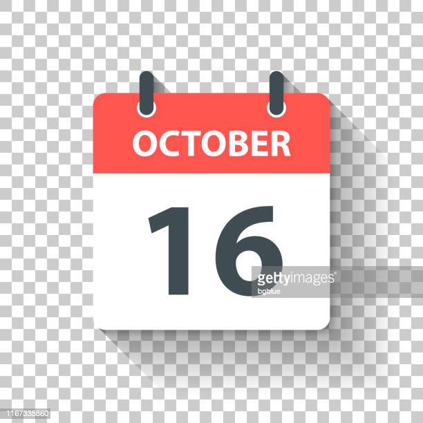 October 16 - Daily Calendar Icon in flat design style