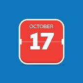 October 17 Calendar Flat Icon