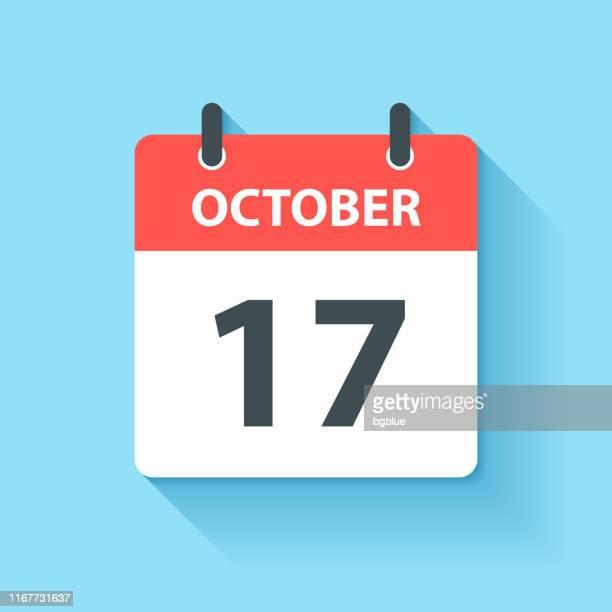 illustrations, cliparts, dessins animés et icônes de 17 octobre - icône de calendrier quotidien dans le modèle plat - octobre