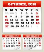 October 2013 Calendar Set
