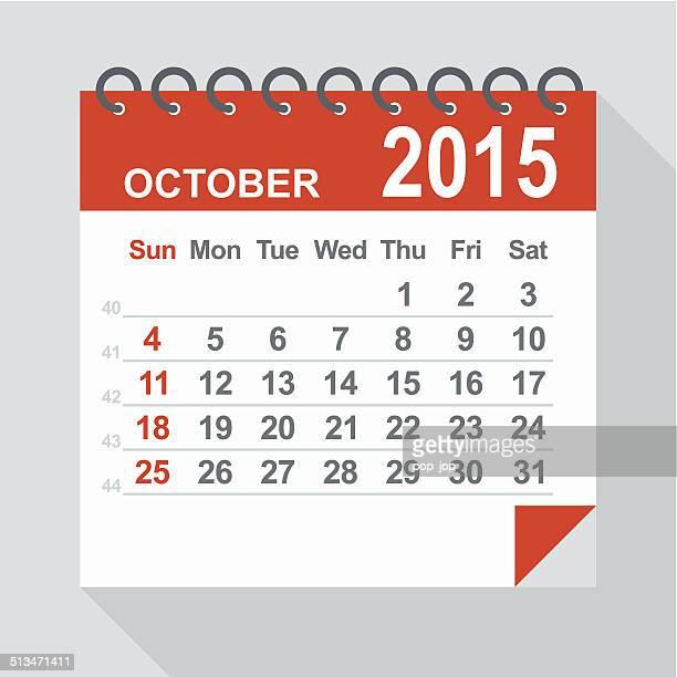 October 2015 calendar - Illustration