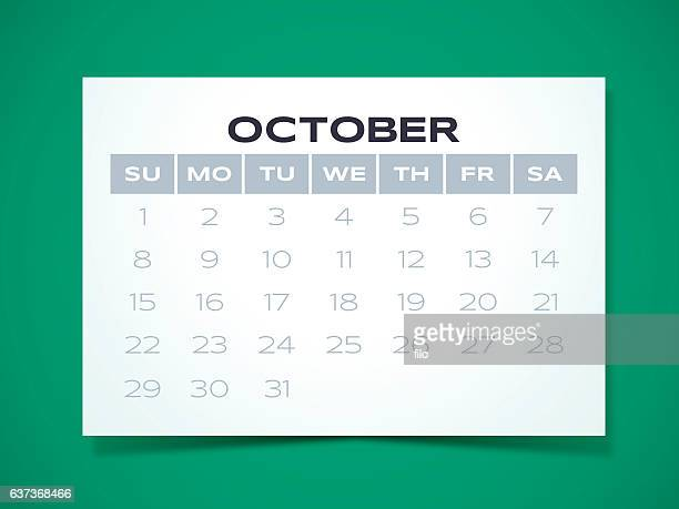 october 2017 calendar - monthly event stock illustrations