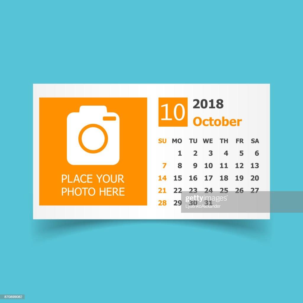 October 2018 calendar. Calendar planner design template with place for photo. Week starts on sunday. Business vector illustration.