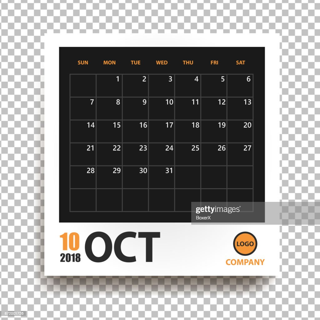 october 2018 calendar in realistic photo frame with shadow isolated on transparent background event planner all size vector illustration