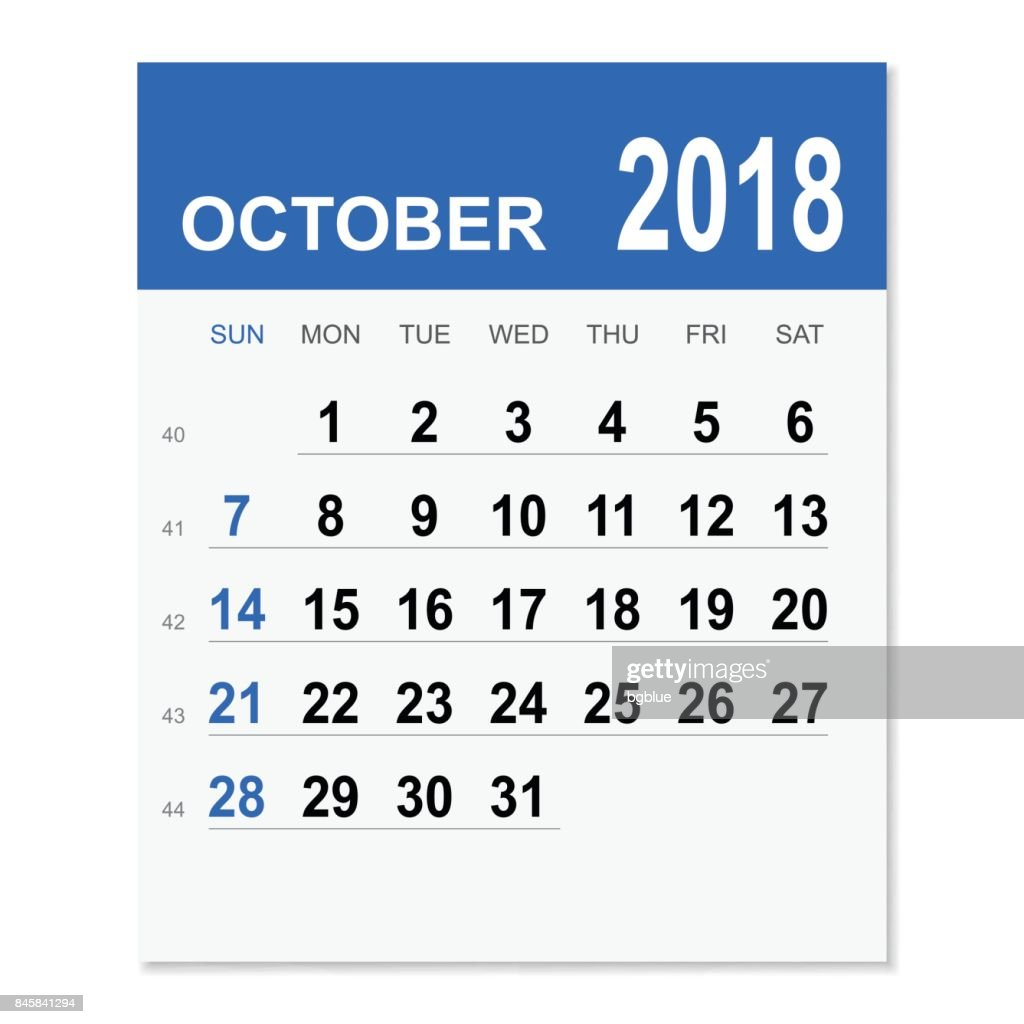 October Calendar Art : October calendar vector art getty images