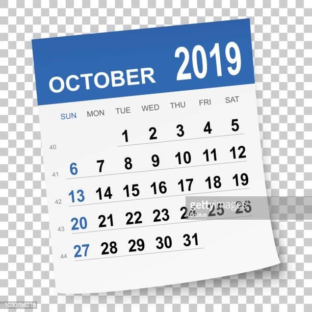 october 2019 calendar - 2019 stock illustrations