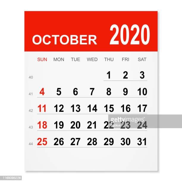 october 2020 calendar - october stock illustrations
