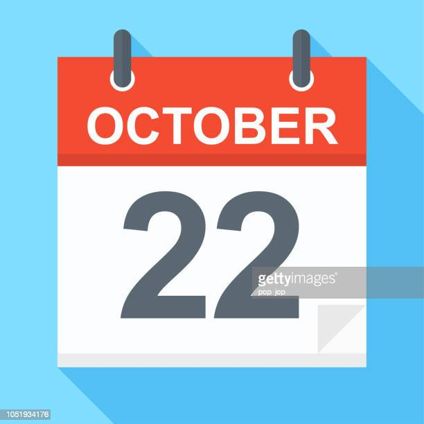 october 22 - calendar icon - october stock illustrations