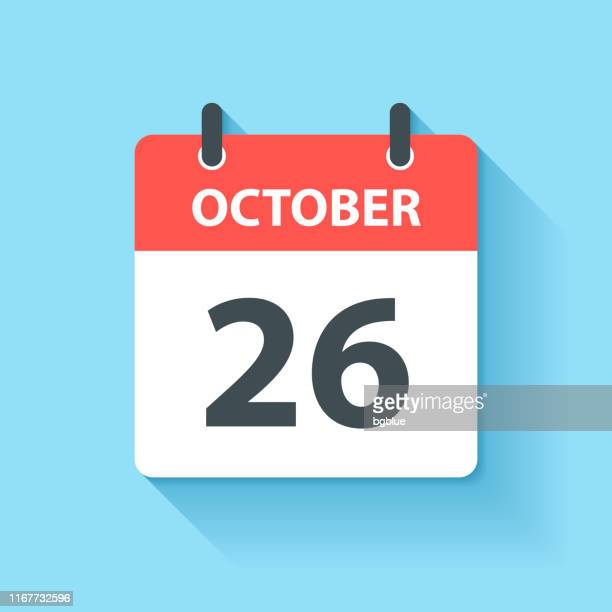 october 26 - daily calendar icon in flat design style - october stock illustrations
