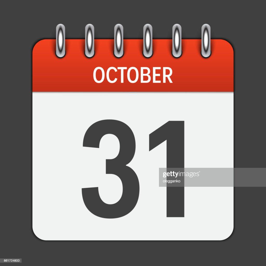 October 31 Calendar Daily Icon. Vector Illustration Emblem. Elem