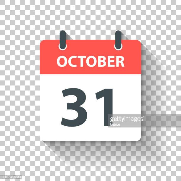 october 31 - daily calendar icon in flat design style - october stock illustrations