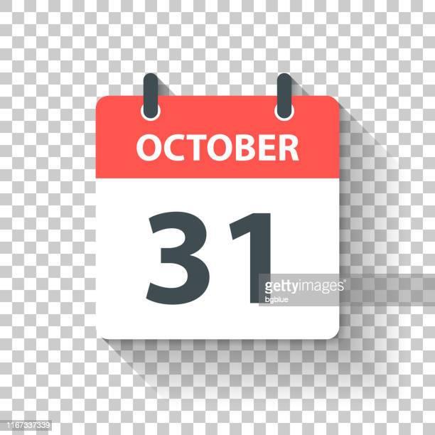 10月31日 - フラットデザインスタイルのデイリーカレンダーアイコン - 十月点のイラスト素材/クリップアート素材/マンガ素材/アイコン素材